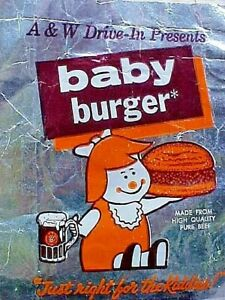 Early 1970's A&W Drive-In BABY BURGER Original aluminum Wrapper MAKE OFFER !!