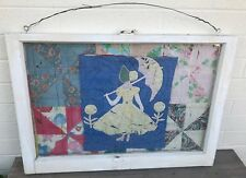 """Antique Quilt Pieces Framed in Old Shabby Window Large 36 x 25"""" Heavy 18 lbs"""
