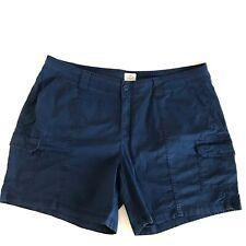 St Johns Bay Womens Blue Cargo Shorts Plus 20W High Waist Pockets Stretch