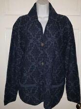 JILLIAN JONES navy Denim Blue Patterned Cardigan Wool Sweater.  M