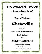 6 Gallant Duos for Alto Recorders by Chedeville Rococo 6 Dance Suites  28 pages