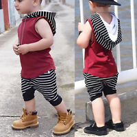 Newborn Kids Baby Boy Outfits Clothes Hoodie Sleeveless Top + Shorts Pants Set
