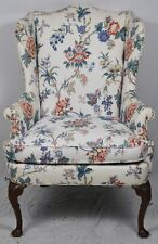 Hickory Chair James River Collection Mahogany Wing Chair Chintz Floral Fabric