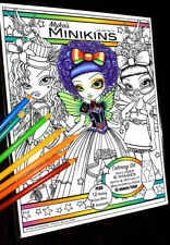 Mykas Minikins Line Art Set 1 Loose Leaf Coloring Book Big Eyed Child Fairy