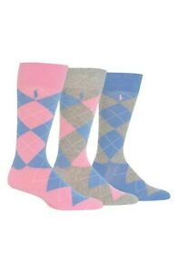 Polo Ralph Lauren Men's 3 Pack Socks Dress Argyles Pink/Grey/Blue NWT