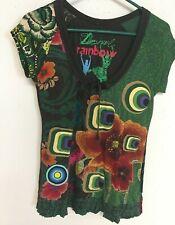 DESIGUAL Rainbow Women's Short Sleeve T-Shirt FLORAL Color PATCH Size Medium