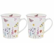Butterfly Garden Set of 2 Fine China Mugs Gift Boxed Butterflies free postage