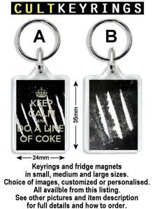 Cocaine keyring / fridge magnet - Lines, logos, Keep calm do a line of coke