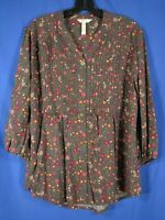 MATILDA JANE Afternoon Stroll WOMEN'S PINTUCK POET BLOUSE TOP Gray Pink Floral L