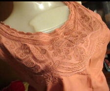 LARGE True Vtg 70s Ultra Thin Salmon Pink All Cotton Camisole Boho Embroider Top