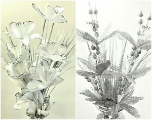 Artificial Bunch Flowers silver White Romany Bling Glitter Xmas Tinsel Vase