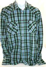 Cinch Mens L/S XL Modern Fit  Western Snap Green Black Striped Dress Shirt