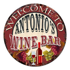 Cmwb-0100 Welcome to Antonio'S Wine Bar Chic Tin Sign Man Cave Decor Gift