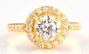 Solid 14KT Yellow Gold & 2.00Ct Round Cut Solitaire With Accents Engagement Ring