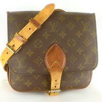Auth LOUIS VUITTON CARTOUCHIERE MM Crossbody Shoulder Bag Monogram M51253 Brown