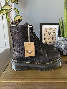 Dr Martens Jadon Black glitter platform boots size 7 41 Molly chunky quad New