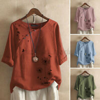 Women Casual Holiday Summer Loose Tops Butterfly Print Cotton Shirt Blouse Plus