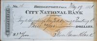 Bridgeport, CT 1881 'City National Bank' Check/Cheque w/Imprinted Revenue - Conn