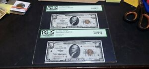Lot of 2 Consecutive $10 1929 Chicago Federal Reserve Bank Notes PCGS 64 PPQ