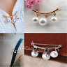 Elegant Pearl Fixed Strap Charm Safety Pin Brooch Sweater Cardigan Clip Chain HS