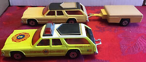 Lot Of 2 Matchbox Superkings: K68 Dodge Monaco And Trailer, K67 Fire Chief