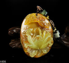 100% Natural Hand-carved Chinese Jade Pendant jadeite Necklace peony flower 440a