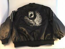 Vintage POW MIA Satin Jacket XL Black Military Vet GOD BLESS AMERICA