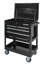 4-Drawer Mechanics Tool Cart Storage 33 in. Heavy Duty Keyed Lock Lid Black NEW