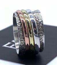 Designer 925 Sterling Silver Mens Ladies Spinner Ring Band Spinning Stress Gift
