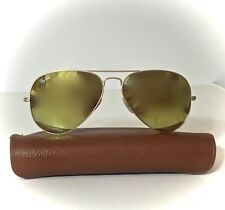 Ray Ban Aviator 3025  Flash Yellow Lens112/93 58mm Sunglasses Matte Gold Frame