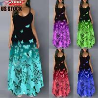 Women's Round Neck Sleeveless Long Dress Ladies Summer Beach Holiday Maxi Dress