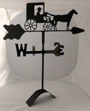 amish horse and buggy roof mount weathervane black wrought iron made in usa