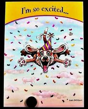 Puppy Dog Party Hat Bone Falling - Patterson Belated Birthday Greeting Card  NEW
