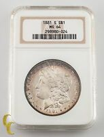 1881-S $1 Silver Morgan Dollar NGC Graded MS 64