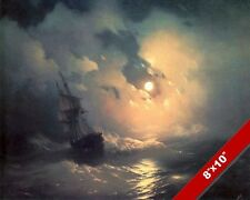 MOONLIT STORM AT SEA SHIP SAILBOAT SEASCAPE PAINTING ART REAL CANVAS PRINT