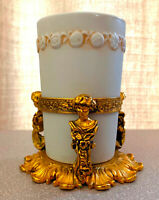 STYLEBUILT ORNATE VANITY GOLD PLATED DECORATIVE GLASS HOLDER HOLLYWOOD REGENCY