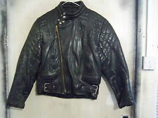 VINTAGE 80'S DISTRESSED LEATHER MOTORCYCLE JACKET SIZE S