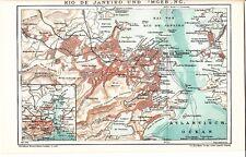 1899 BRAZIL RIO DE JANEIRO & OUTSKIRTS CITY PLAN Antique Map