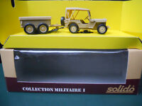SOLIDO MILITAIRE JEEP WILLYS + REMORQUE 4 ROUES VERY RARE !.. MINT IN BOX