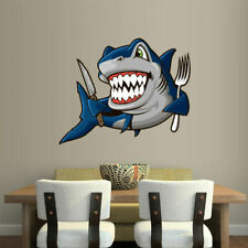 Full Color Wall Decal Vinyl Sticker Fish Shark Fork Knife Kitchen (Col457)