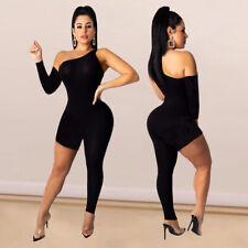 Womens Sexy Asymmetrical One Shoulder Casual Summer Solid Color Black Jumpsuit