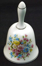 China Porcelain Bell Blue Pink Yellow Bouquet Floral Pattern Gold Gilding