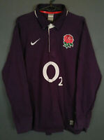 RARE LONG SLEEVE NIKE MEN RUGBY UNION ENGLAND 2009/2010 AWAY SHIRT JERSEY SIZE L