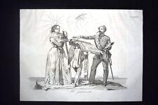 Incisione d'allegoria e satira Giuramento Vittorio Emanuele II Don Pirlone 1851