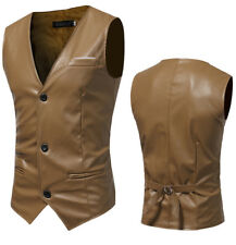 Men's Casual High quality PU Leather Vest Jacket Top Coat Sleeveless Waistcoats