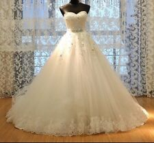 UK White Strapless Sweetheart Bridal Lace Sequins Wedding Dresses Size 20 or 22