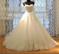 UK White/ivory Lace Sequins Wedding Dress Bridal Gown Sizes 6-22