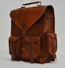 Real leather handmade messenger brown vintage satchel backpack shoulder bag