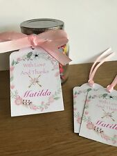Boho Floral Personalised Thank you Tags~Birthday,Bridal/Baby Shower,Wedding,Bapt