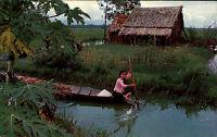 VIETNAM Asia Postcard Scene in rural Frau Boot Bäuerin Vintage Postcard ~1960/70
